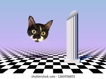 Vaporwave styled landscape with checkered floor, ancient column and flying cat head collage