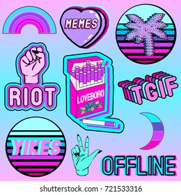 "Vaporwave vector set of cartoon colorful aesthetic phrases, words: ""Riot"", ""offline"", ""memes"", ""yikes"", ""TGIF"", a pack of cigarettes, palms, palms, hearts, rainbows, etc. Patch badges, pins, stickers."