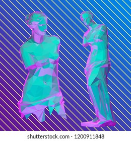 Vaporwave Venus Sculpture. Roman Goddess of Love. Isolated Vector Illustration. Low Poly 3D Rendering