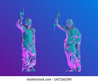 Vaporwave Zeus. Set of Psychedelic Zeus on Retro Background. Low Poly Vector 3D Rendering