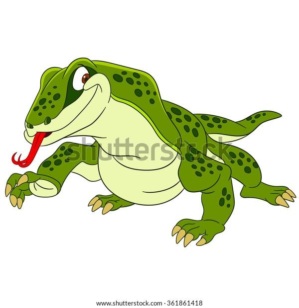 Varan Komodo Dragon Lizard Cartoon Character Stock Image