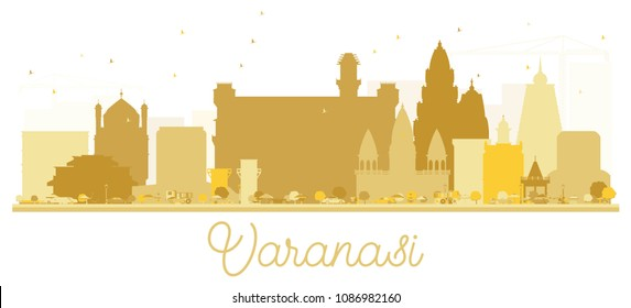 Varanasi City skyline Golden silhouette. Vector illustration. Simple flat concept for tourism presentation, banner, placard or web site. Varanasi Cityscape with landmarks.