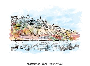 Varanasi City in Uttar Pradesh, India. Watercolor splash with Hand drawn sketch illustration in vector.