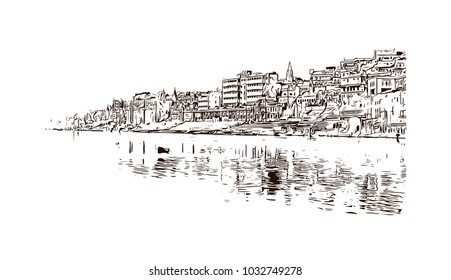 Varanasi City in Uttar Pradesh, India. Hand drawn sketch illustration in vector.