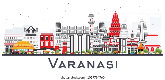 Varanasi India City Skyline with Color Buildings Isolated on White. Vector Illustration. Business Travel and Tourism Concept with Historic Architecture. Varanasi Cityscape with Landmarks.