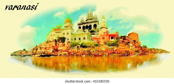 VARANASI vector panoramic water color illustration