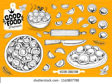 Vareniki. Pelmeni. Meat dumplings. Food. Cooking. National dishes. Products from the dough and meat. Good food premium market, logo design, shop, hand drawn vector collection.