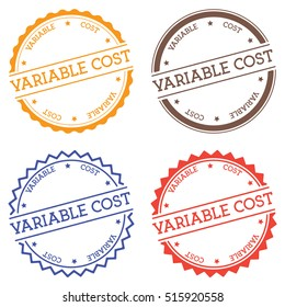Variable cost badge isolated on white background. Flat style round label with text. Circular emblem vector illustration.