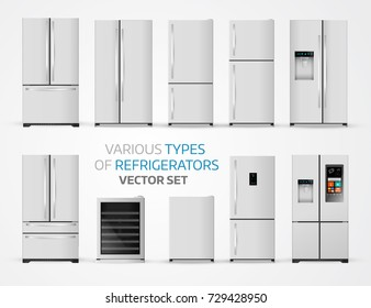 Variable types of refrigerators. Realistic set on white background.