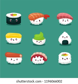 Variant of sushi set with cartoon style
