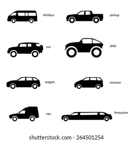 Variants of car body. Set of sports cars, racing cars icons. Race, sport, rally, dakar, taxi, transportation vector icons, silhouette, black. Cars icons set.