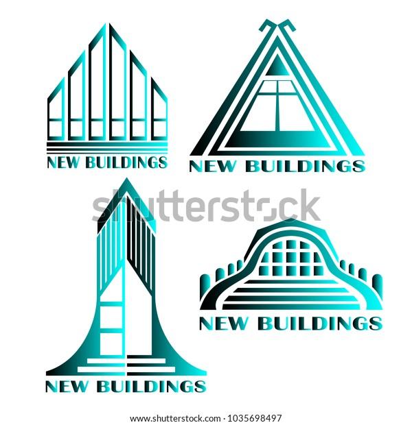 Variants Logos Construction Companies Stock Vector (Royalty