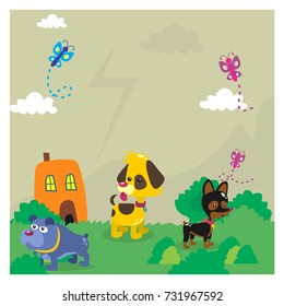 variation of dog together playing in the green meadow cartoon character
