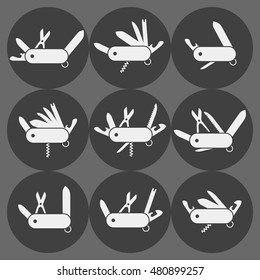 Variation of folding knife flat icon vector; Different Folding army knife; multi-tool instrument sign vector isolated
