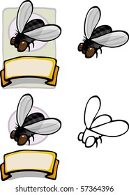 Variations of a housefly brand and label for all types of use.