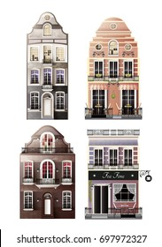 Variations of old european facade houses with arched and traditional windows, porch, balconies, cafe isolated vector illustration