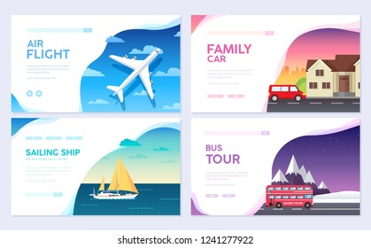 Variations transport of travel vacation tour guide infographic. Cruise, bus, flying on plane, car journey. Vector flyear, invitations, Magazines, cards, presentation, poster, banners set design