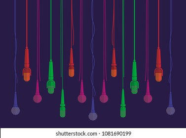 Varicoloured microphones vector set in a flat style with dark blue background. Creative concept to illustrate an interview, karaoke, song, music. Blue green purple orange microphones in a flat style.