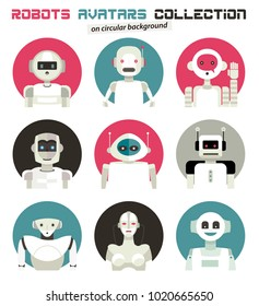 Varied collection of robots faces characters avatars. Imaginative and friendly colourful collection of happy androids to give a fresh and futuristic image to your social networks.