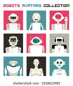 Varied collection of robots faces and heads for used as characters avatars. Imaginative and friendly colourful collection of happy andorids to give a fresh and futuristic image to your social networks