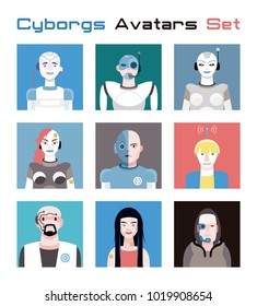Varied set of cyborgs avatars. Imaginative and friendly colourful collection of happy  characters, that combine the human and the machine to give a fresh and futuristic image to your social networks.