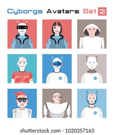 Varied set of cyborgs characters avatars. Imaginative and friendly colourful collection of  characters, that combine the human and the machine to give a fresh and futuristic image to your social net