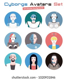 Varied set of cyborgs characters avatars. Imaginative and friendly colourful collection of happy  characters, that combine the human and the machine to give a futuristic image to your social media.