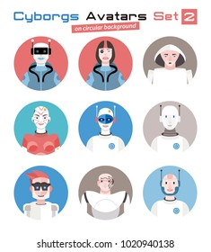 Varied set of cyborgs characters avatars. Imaginative and friendly colourful collection of happy  characters, that combine the human and the machine to give a  futuristic image to your social networks