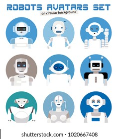 Varied set of robots faces characters avatars. Imaginative and friendly colourful collection of happy androids to give a fresh and futuristic image to your social networks.