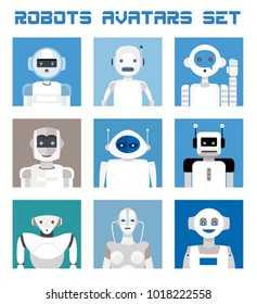 Varied set of robots faces and heads for used as characters avatars. Imaginative and friendly colourful collection of happy andorids to give a fresh and futuristic image to your social networks.
