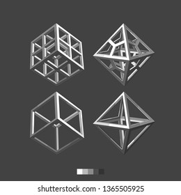 Varieties of cube and octahedron.  Models of geometric bodies. Monochrome vector graphics.