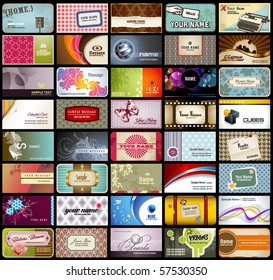 variety of 40 detailed horizontal business cards on different topics