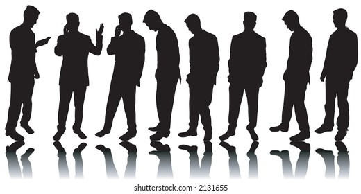 Variety of business men silhouettes