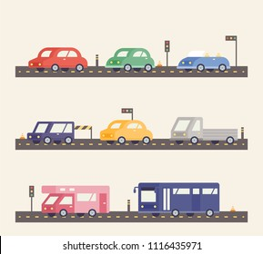A variety of cars on the road. geometric flat design style vector graphic illustration set
