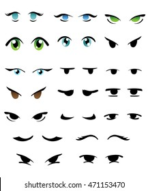 A variety of cartoon eyes. Features for creation of the character