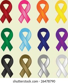 "A variety of ""cause"" ribbons"