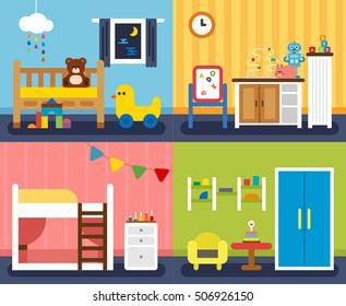 A variety of children's room interior vector illustration flat design