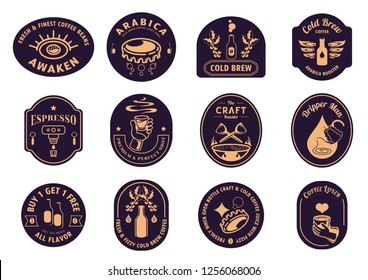 variety classic coffee badge design with coffee beans,bottle,bottle cap,coffee dripper,cup of hot coffee,smoke and eye logo vector illustration.