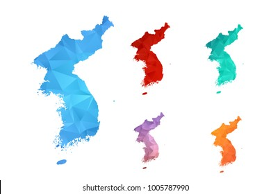 Variety color polygon map on white background of map of korea symbol for your web site design map logo, app, ui, Travel vector eps10, concept Illustration.