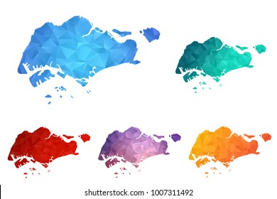 Variety color polygon map on white background of map of Singapore symbol for your web site design map logo, app, ui, Travel vector eps10, concept Illustration.