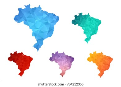 Variety color polygon map on white background of map of Brazil symbol for your web site design map logo, app, ui, Travel vector eps10, concept Illustration.