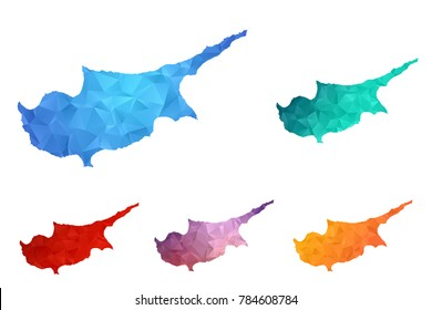 Variety color polygon map on white background of map of Cyprus symbol for your web site design map logo, app, ui, Travel vector eps10, concept Illustration.