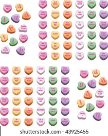 A variety of conversation hearts. Some naughty, some nice.