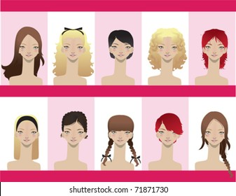 A variety of different hair styles on women.