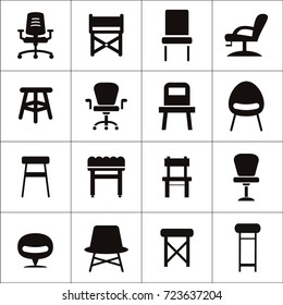 Variety of different style chairs isolated flat vector icons