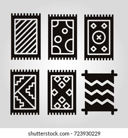 Variety of different type of carpets isolated flat vector icon set