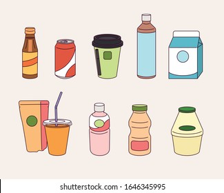 A variety of drinks sold at convenience stores in Asia-Korea. hand drawn style vector design illustrations.