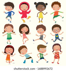 Variety of emotions children, kids face with different expressions, pose, gesture, vector, illustration