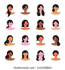 A variety of female hair style specimens in hair salon. flat design style vector graphic illustration set