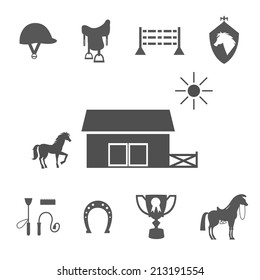 Variety Grayscale Vector Horse Icons on White Background.